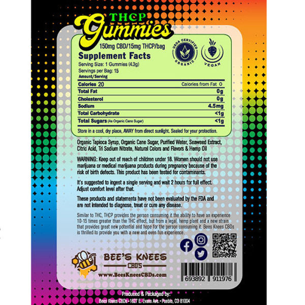 THCP Gummies Bag Back