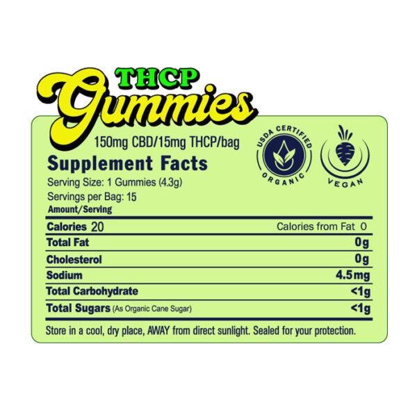 THCP Gummies Nutritional Panel